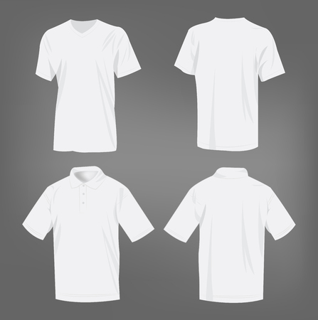 polo shirt: Sport white t-shirt and polo shirt isolated set vector
