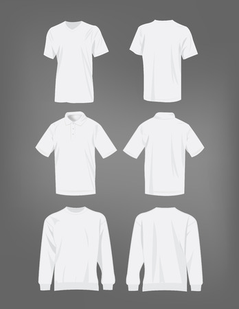 white shirt: Sport white t-shirt, sweater and polo shirt isolated set vector