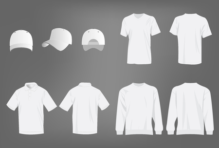white shirt: Sport white t-shirt, sweater, polo shirt and baseball cap isolated set vector