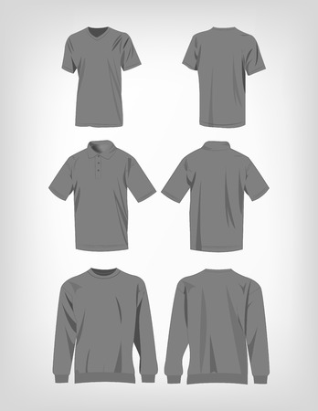 fashion clothing: Sport grey t-shirt, sweater and polo shirt isolated set vector