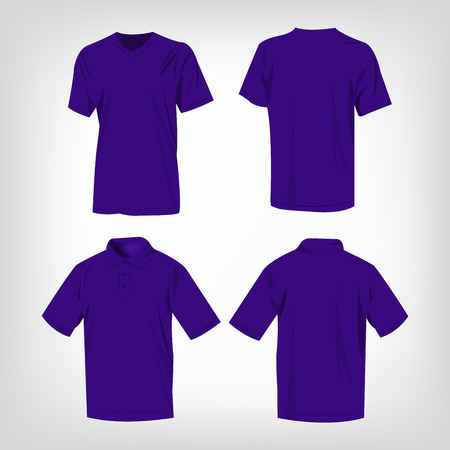 Sport violet t-shirt and polo shirt isolated set vector Vetores
