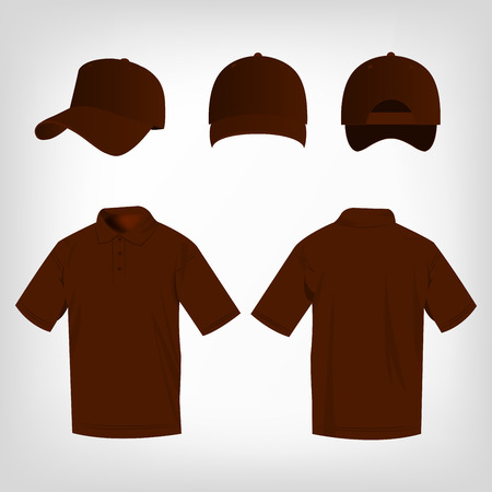 brown shirt: Sport brown polo shirt and baseball cap isolated set vector