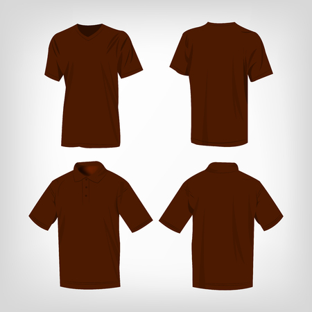 brown shirt: Sport brown t-shirt and polo shirt isolated set vector
