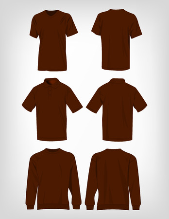 brown shirt: Sport brown t-shirt, sweater and polo shirt isolated set vector