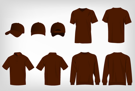 brown shirt: Sport brown t-shirt, sweater, polo shirt and baseball cap isolated set vector