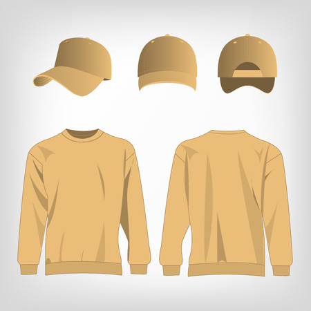 light brown: Sport light brown sweater and baseball cap isolated vector Illustration
