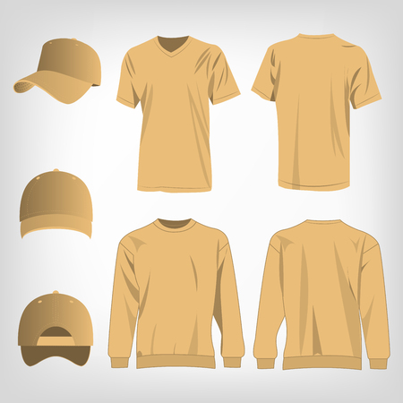 light brown: Sport light brown sweater, t-shirt and baseball cap isolated vector Illustration