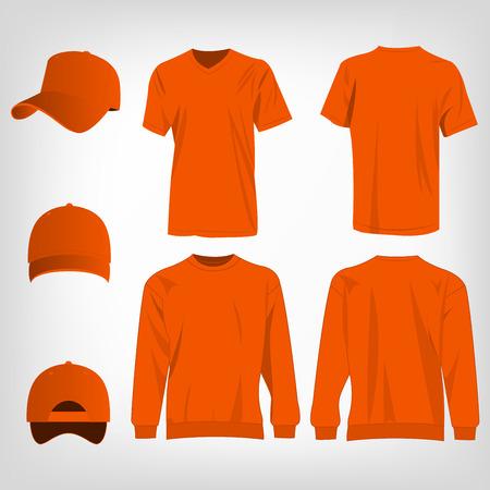 brown shirt: Sport orange t-shirt, sweater and baseball cap isolated set vector Illustration