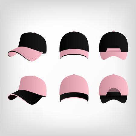 pink cap: Pink and black baseball cap vector set Illustration