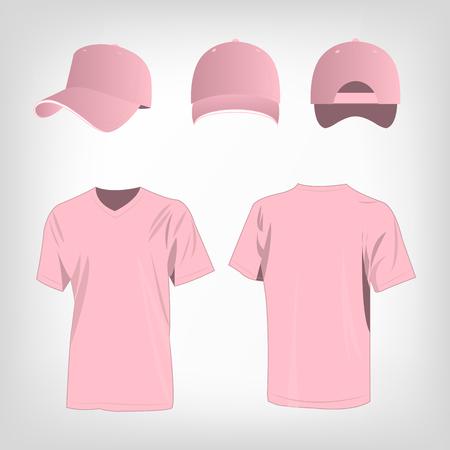 pink cap: Sportswear pink t-shirt and red baseball cap vector set