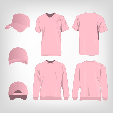 pink cap: Sport pink t-shirt, sweater and baseball cap isolated set vector