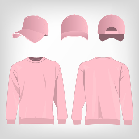 pink cap: Sport pink sweater and baseball cap isolated set vector Illustration