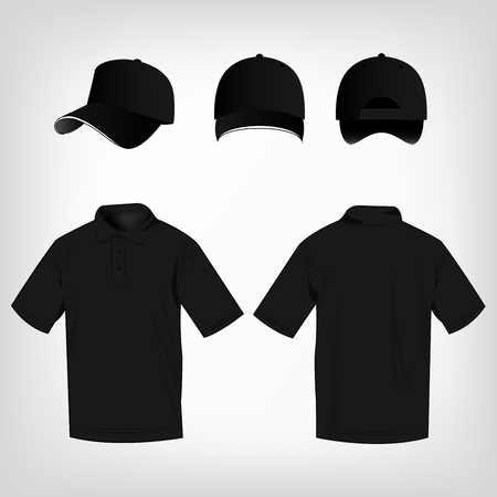 Sport black polo shirt and baseball cap isolated set vector Çizim