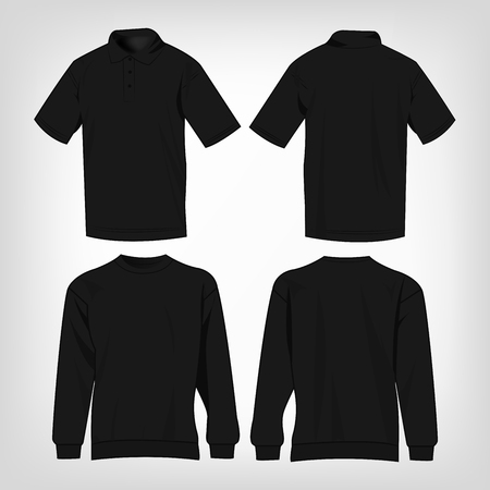 black sweater: Sport black sweater and polo shirt isolated set vector
