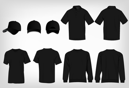 Sport black t-shirt, sweater, polo shirt and baseball cap isolated set vector