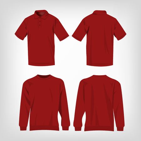 bordo: Sport dark red sweater and polo shirt isolated set vector