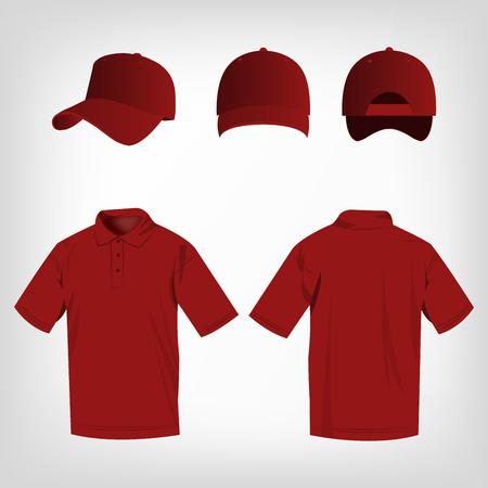 dark red: Sport dark red polo shirt and baseball cap isolated set vector Illustration