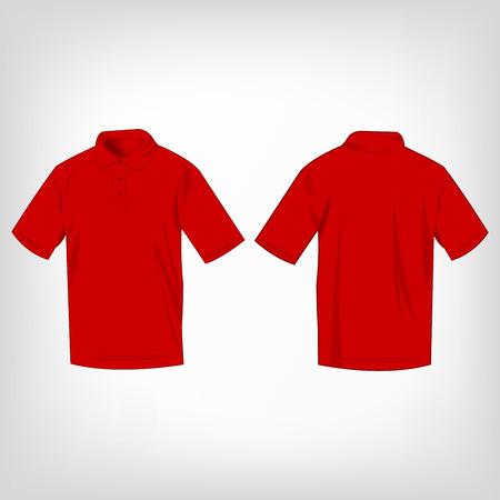polo: Red polo shirt isolated vector