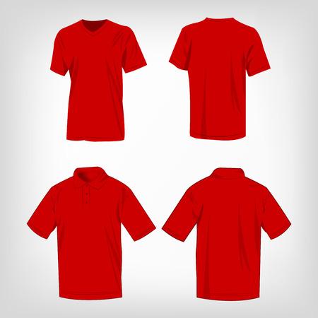 Deportivo rojo de la camiseta y camisa de polo de vectores aislados conjunto