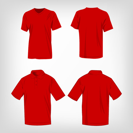 Sport red t-shirt and polo shirt isolated set vector