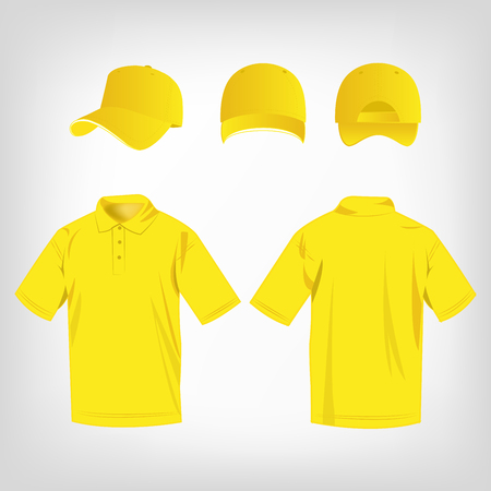 baseball caps: Sport yellow polo shirt and baseball cap isolated set vector Illustration
