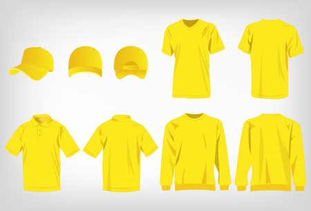 Sport yellow t-shirt, sweater, polo shirt and baseball cap isolated set vector
