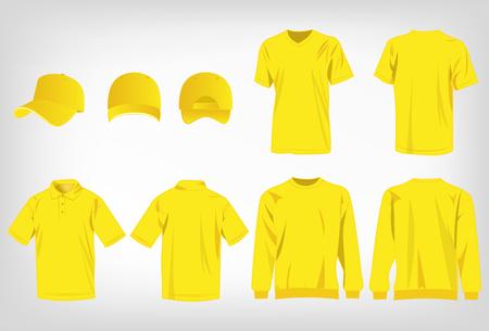 Sport yellow t-shirt, sweater, polo shirt and baseball cap isolated set vector Banco de Imagens - 51946087