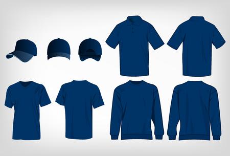 deportivo azul camiseta, suéter, camisa de polo y gorra de béisbol aislados conjunto de vectores