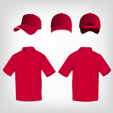 hot pink: Sport hot pink polo shirt and baseball cap isolated set vector Illustration