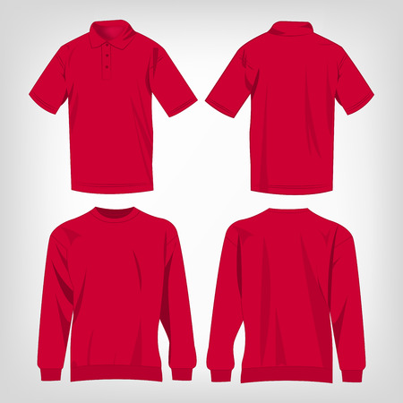 deep pink: Sport hot pink sweater and polo shirt isolated set vector
