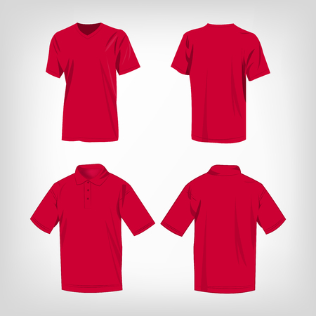hot pink: Sport hot pink t-shirt and polo shirt isolated set vector