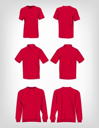hot pink: Sport hot pink t-shirt, sweater and polo shirt isolated set vector