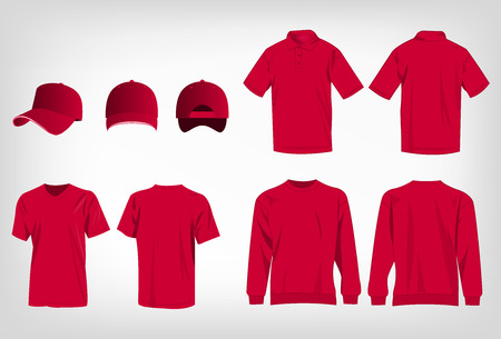 pink cap: Sport hot pink t-shirt, sweater, polo shirt and baseball cap isolated set vector