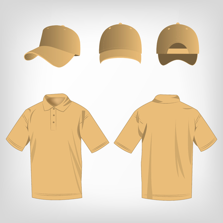 brown shirt: Sport light brown polo shirt and baseball cap isolated set vector