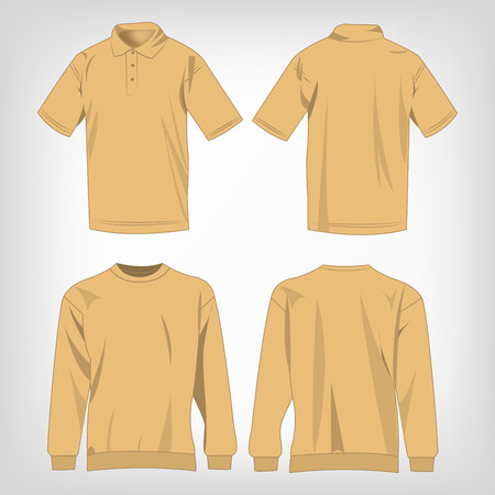 light brown: Sport light brown sweater and polo shirt isolated set vector