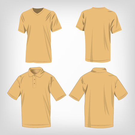 brown shirt: Sport light brown t-shirt and polo shirt isolated set vector
