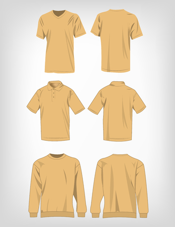 light brown: Sport light brown t-shirt, sweater and polo shirt isolated set vector