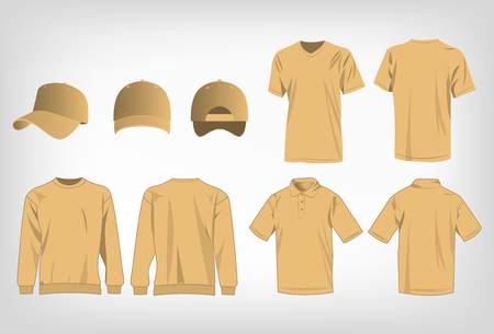 light brown: Sport light brown t-shirt, sweater, polo shirt and baseball cap isolated set vector