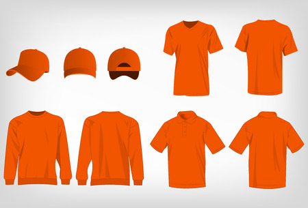 baseball sport: Sport orange t-shirt, sweater, polo shirt and baseball cap isolated set vector