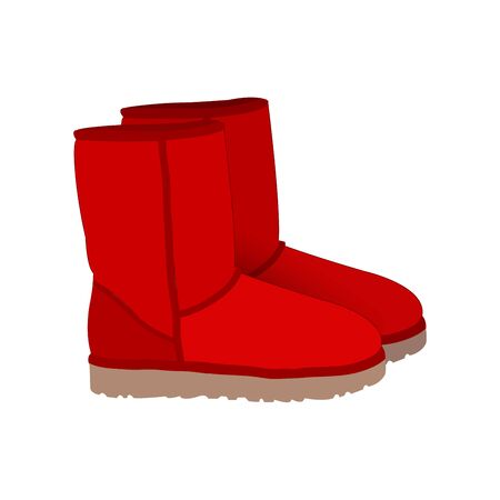 red boots: Red winter short boots vector Illustration
