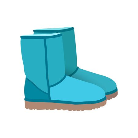 blue and green: Blue green winter short boots vector
