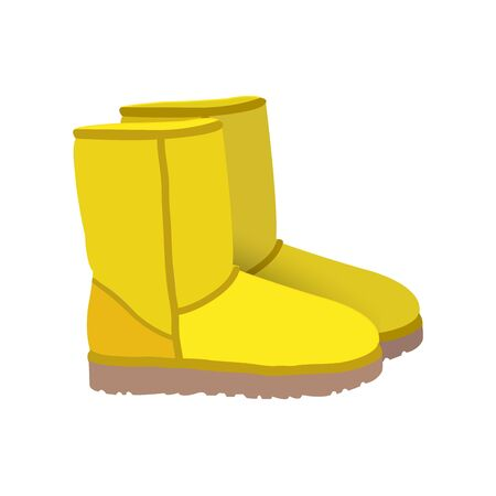short: Yellow winter short boots vector Illustration
