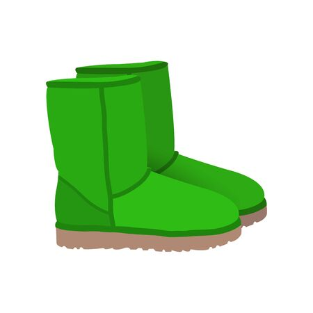 lime green: Lime green winter short boots vector