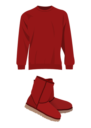 red boots: Dark red winter short boots and sweater vector set
