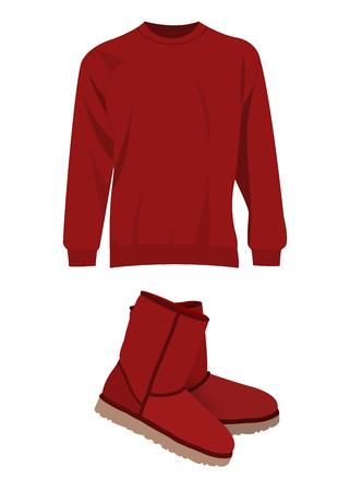dark red: Dark red winter short boots and sweater vector set