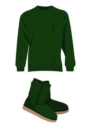 uniform green shoe: Green winter short boots and sweater Illustration