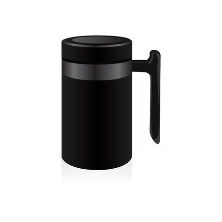 thermo: Vector black thermo mug, travel mug