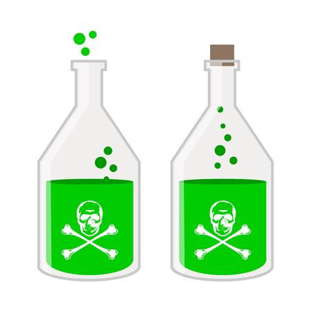 veneno frasco: Botella del veneno con el cráneo de dibujos animados ilustración vectorial