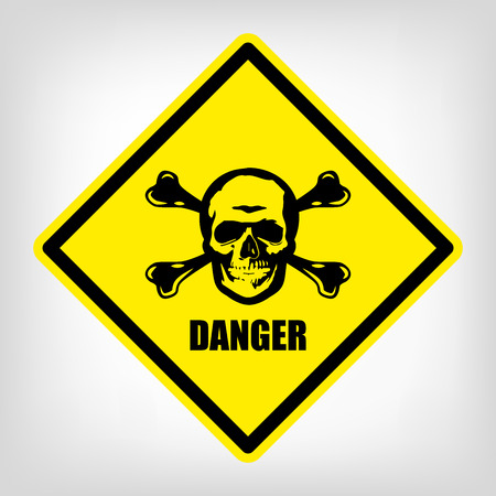 Danger yellow symbol vector skull