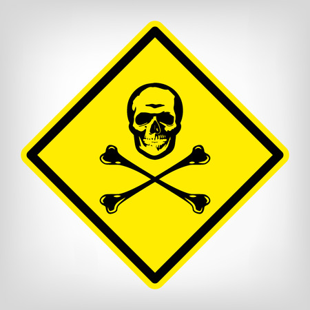 deadly danger sign: Danger yellow symbol vector skull